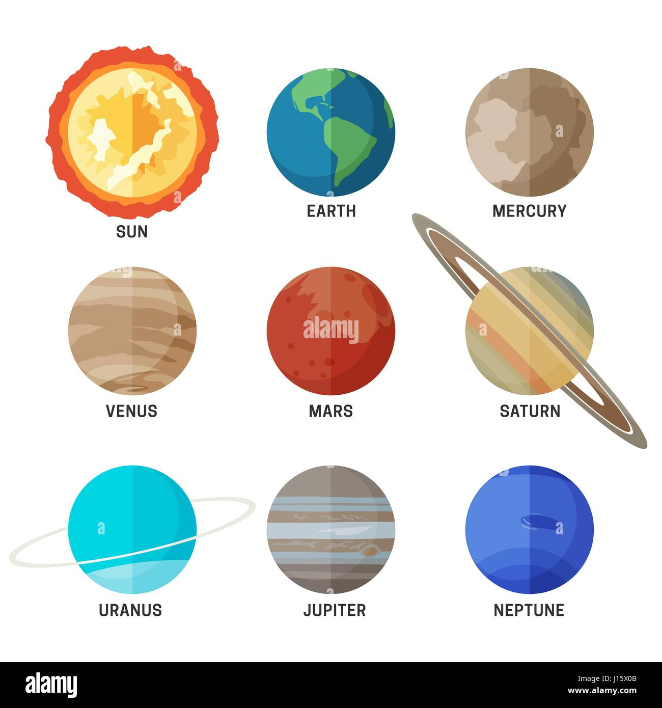 Planets Of The Solar System Stock Vector Art