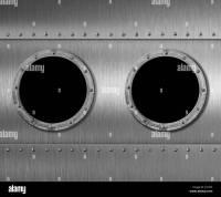 two metal submarine or spaceship porthole windows 3d ...