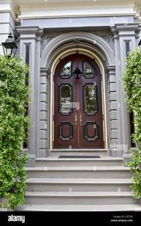 Grand front door entrance to beautiful colonial style home ...