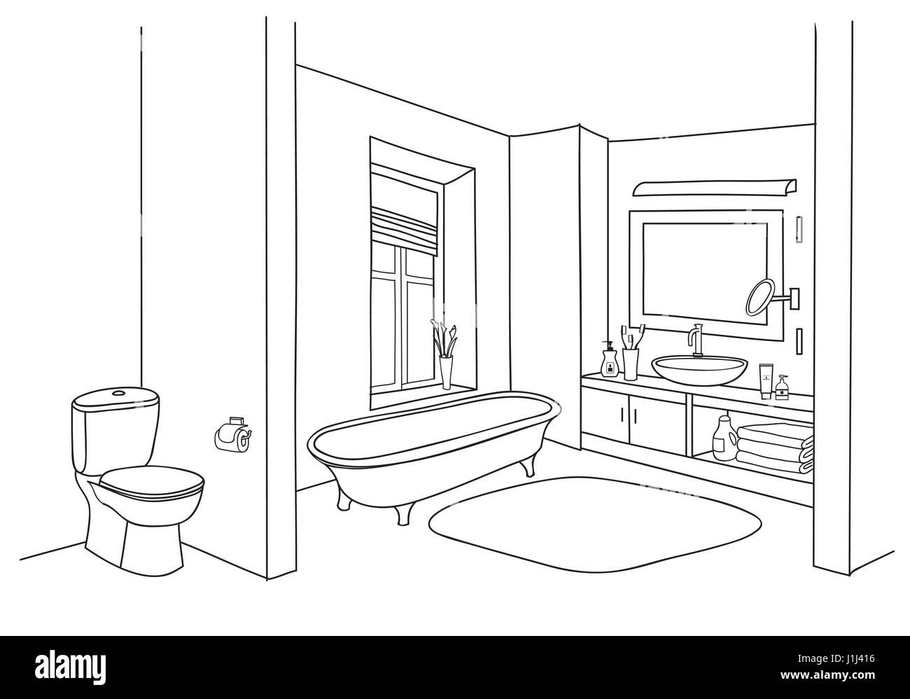 Bathroom Interior Sketch Room View With Doodle Drawn