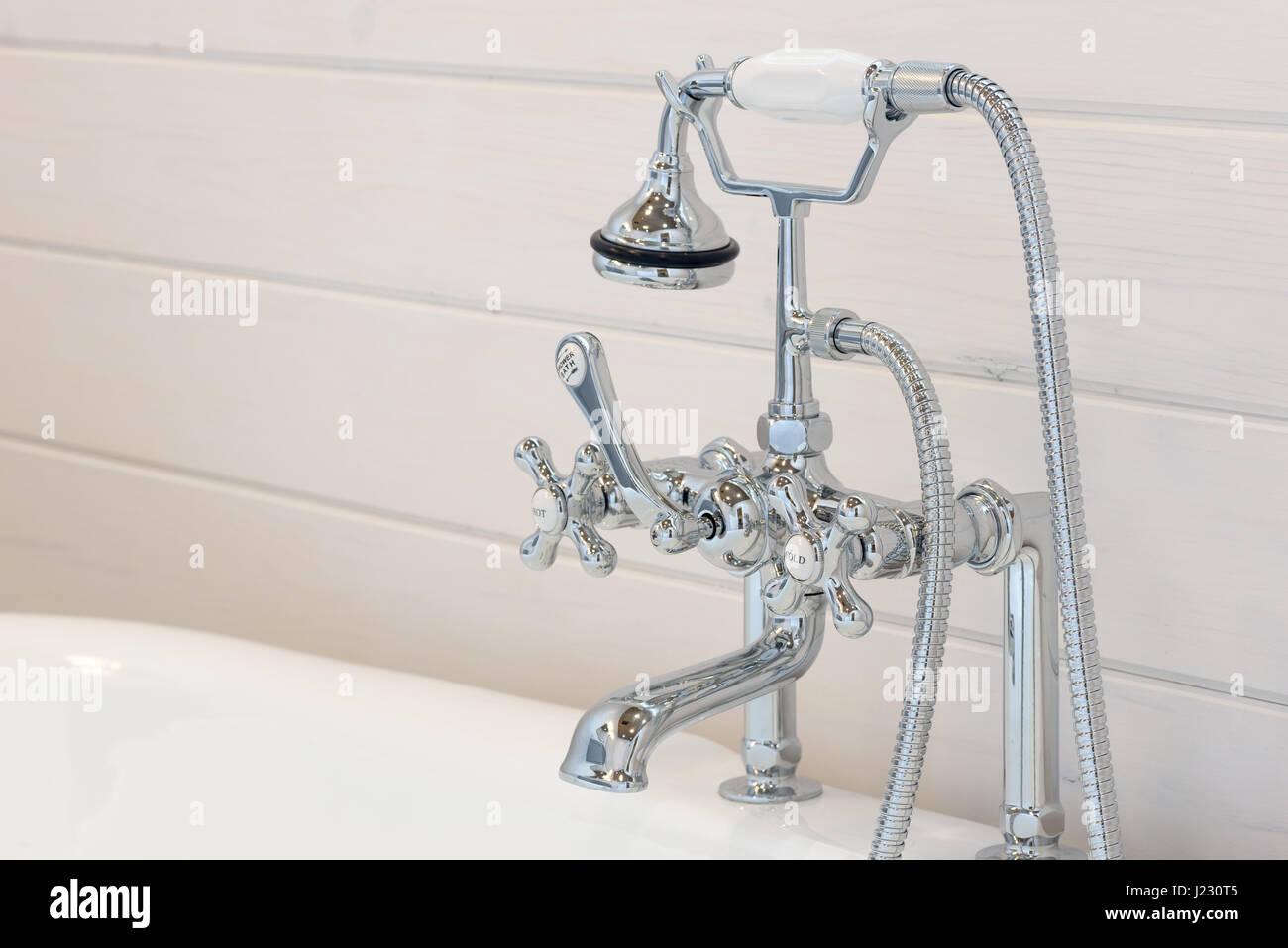 https www alamy com stock photo vintage bathtub faucet and shower head 138978789 html