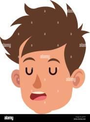 cartoon close eyes head boy person alamy child drawing