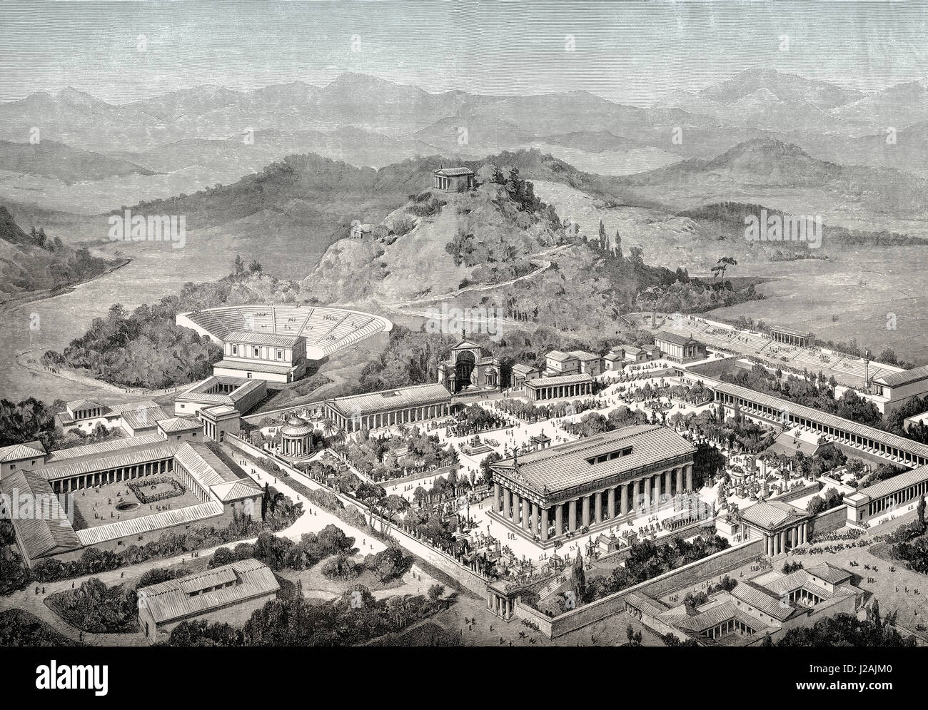 The Reconstruction Of Olympia In Ancient Greece Stock