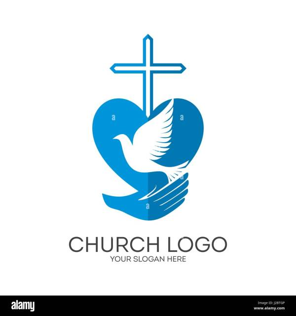 Logo Church Ministry Mission. Cross And Dove In