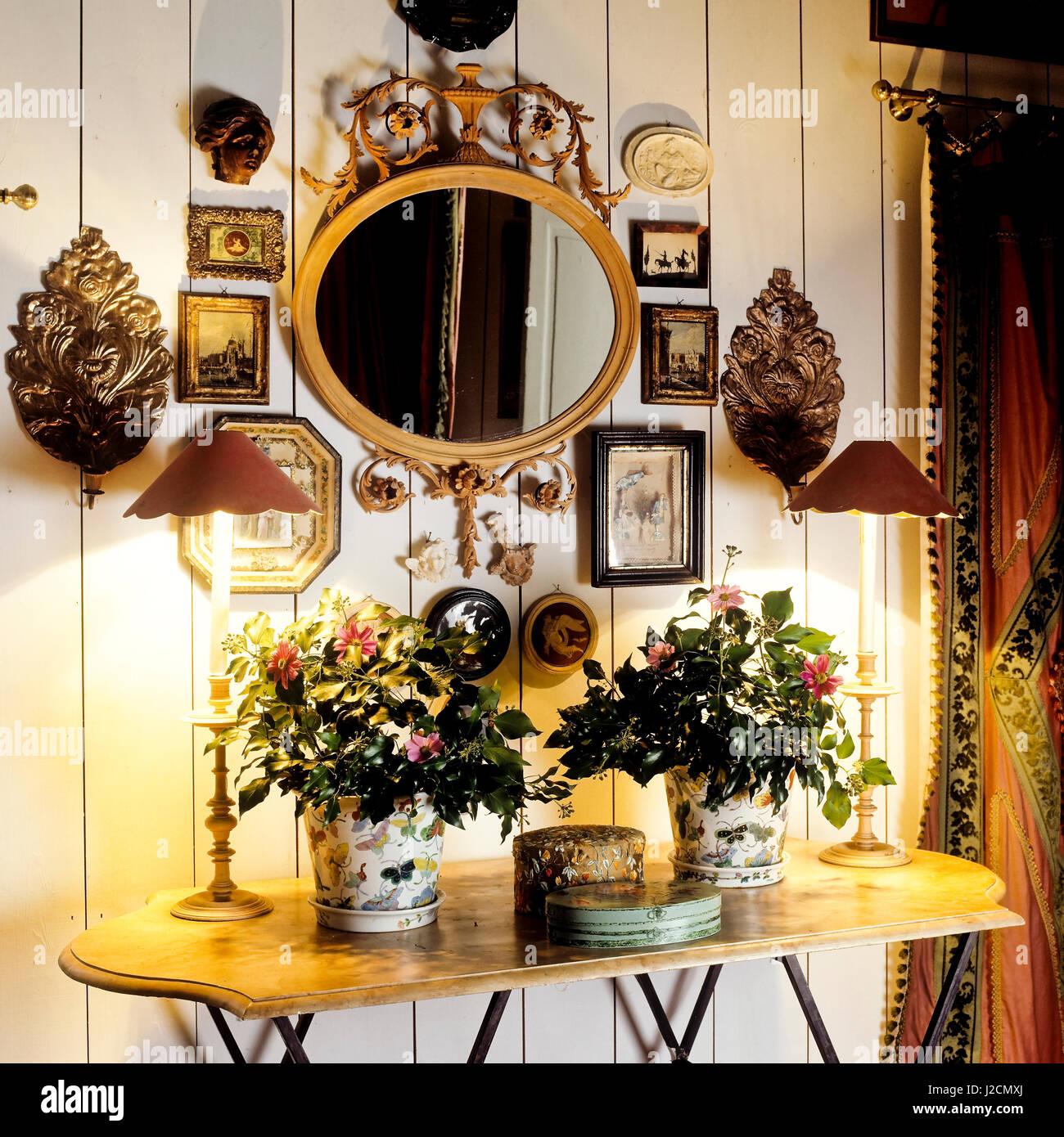 https www alamy com stock photo flowers on table under mirror 139192106 html