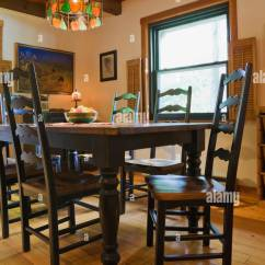 Cottage Style Chairs Indoor Folding Dining Room With Antique Wooden Table And High Back Inside A Canadiana Log Home