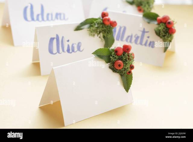 Wedding Place Name Cards Handwritten High Resolution Stock