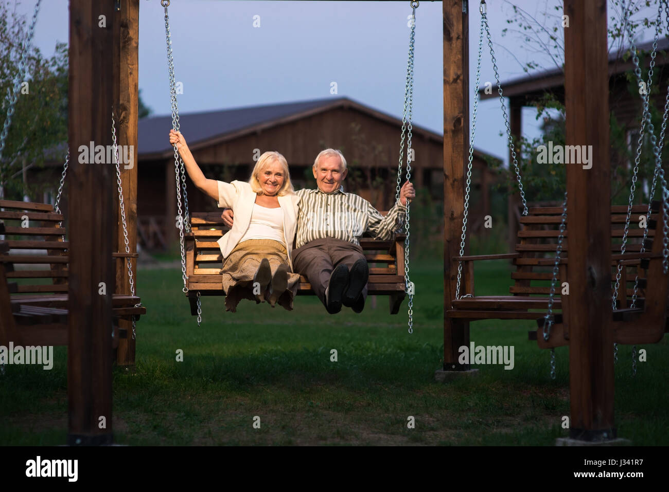swing chair thailand fishing makers old couple stock photos and