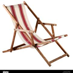 Canvas Beach Chair How To Make A Cardboard With Only Folding Wooden Deckchair Or Striped Red And White Seat Isolated On