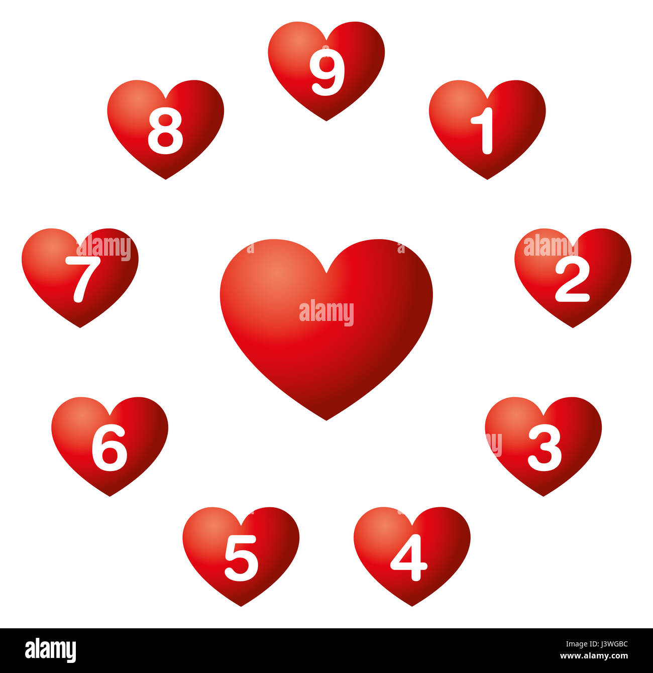 Heart Numbers In A Circle Numerology Nine Soul Urge Numbers In Red Stock Photo Royalty Free