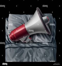 snoring concept and sleep apnea sleeping problem causing loud bedtime noise as a megaphone or bullhorn [ 1300 x 1390 Pixel ]