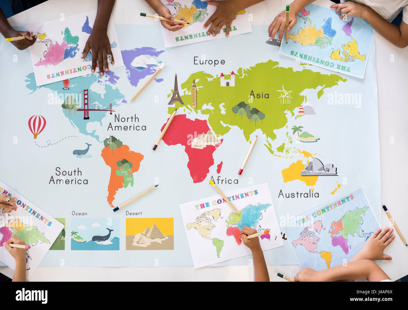 Kids Learning World Map With Continents Countries Ocean