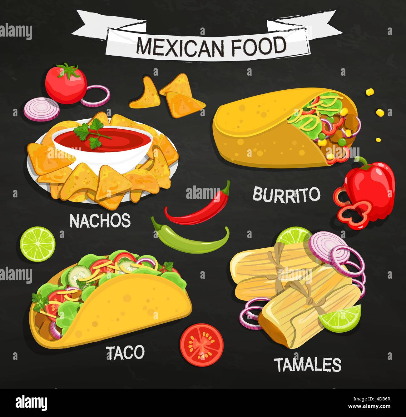 Concept Of Traditional Mexican Food On Blackboard Tamales
