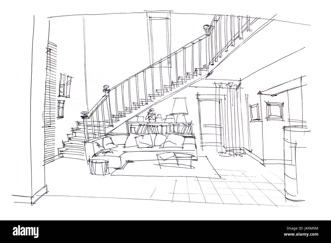 Sketch Of Living Room Design With Furniture In Multistory Apartment Stock Photo Alamy