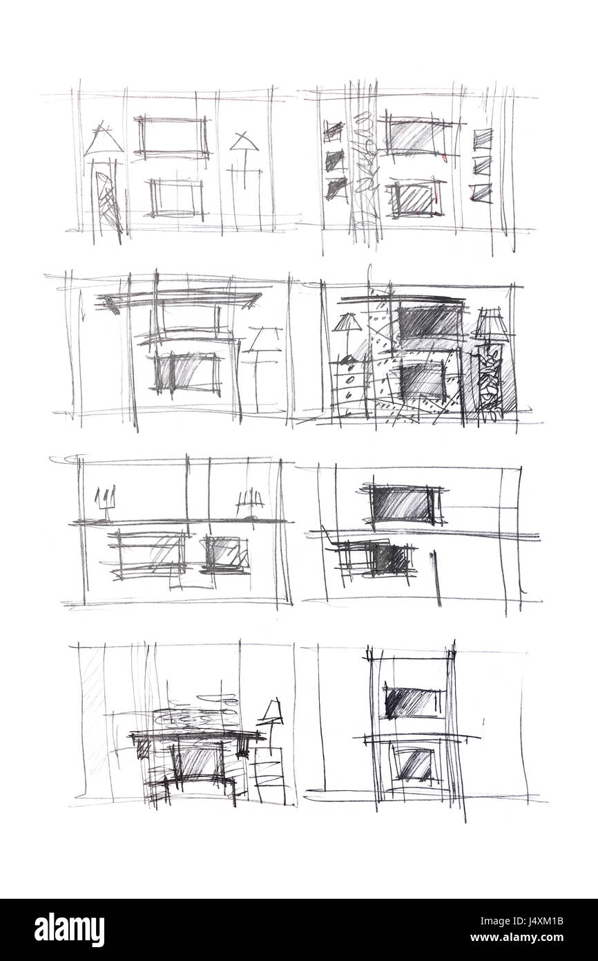rough sketches of living room interiors and furniture