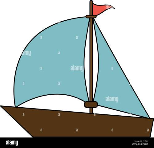 small resolution of color image wooden boat with sail
