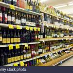 Shelves With Bottles Of Wine And Spirits At A Supermarket