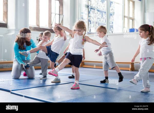 Physical Education Children Teacher Stock