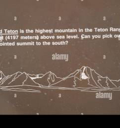 lunch tree hill information sign with teton range diagram mount moran to grand teton with height of grand teton and recognition question wyoming us [ 1300 x 863 Pixel ]
