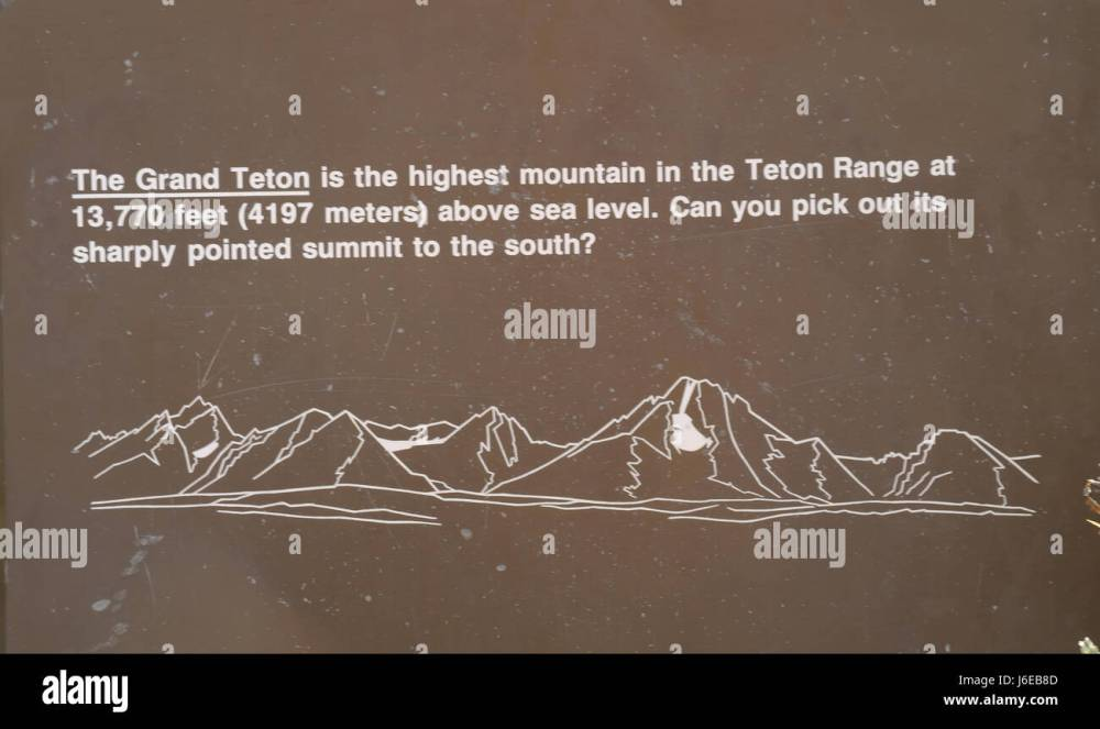 medium resolution of lunch tree hill information sign with teton range diagram mount moran to grand teton with height of grand teton and recognition question wyoming us