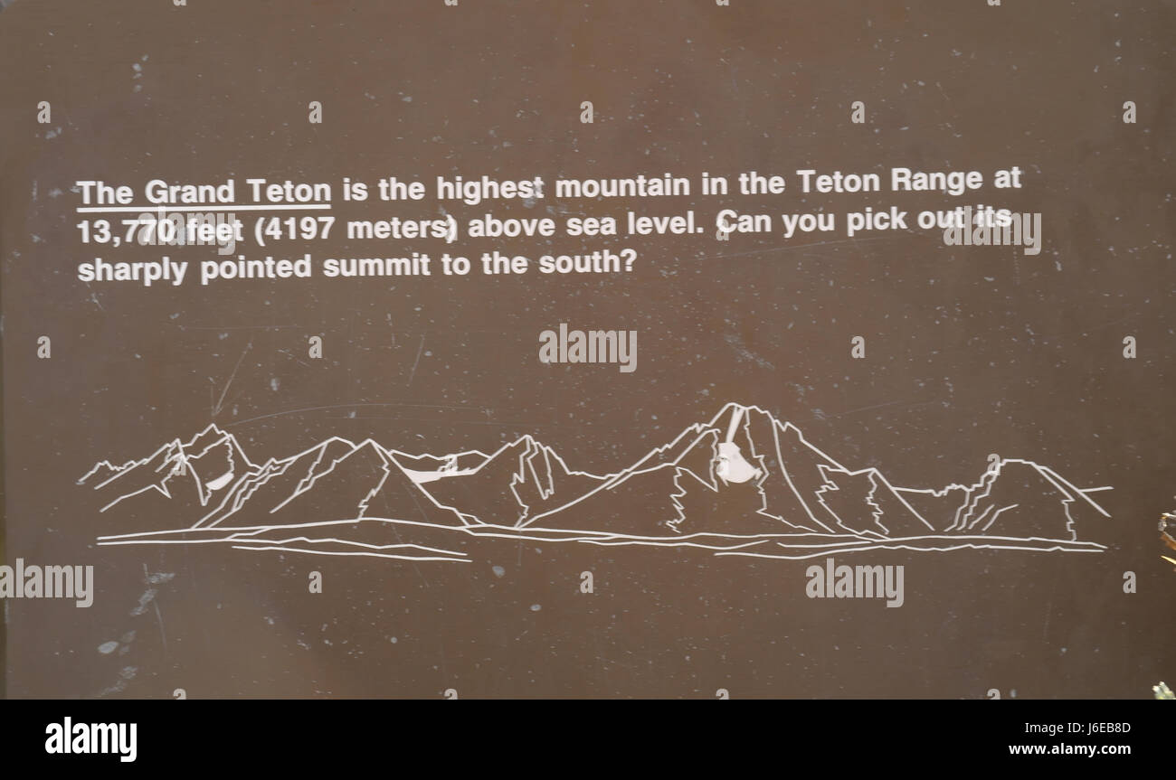 hight resolution of lunch tree hill information sign with teton range diagram mount moran to grand teton with height of grand teton and recognition question wyoming us