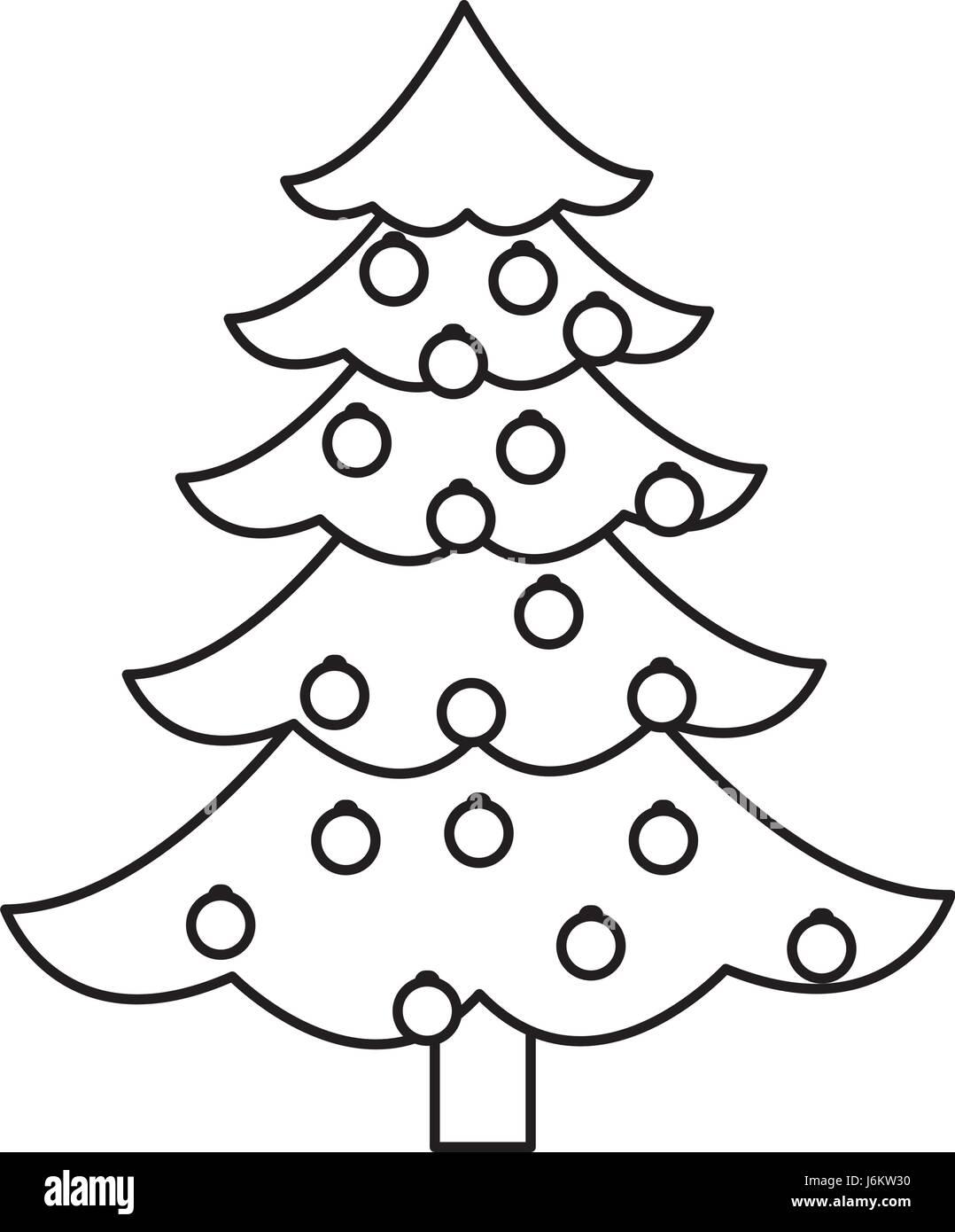 Christmas Tree Pine Decoration Balls Outline Stock Vector