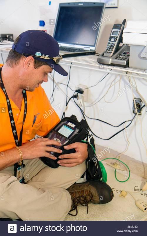 small resolution of miami beach florida at t u verse cable internet hispanic man technician installation job