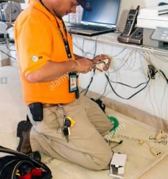 miami beach florida at t u verse cable internet hispanic man technician installation job tools [ 866 x 1390 Pixel ]