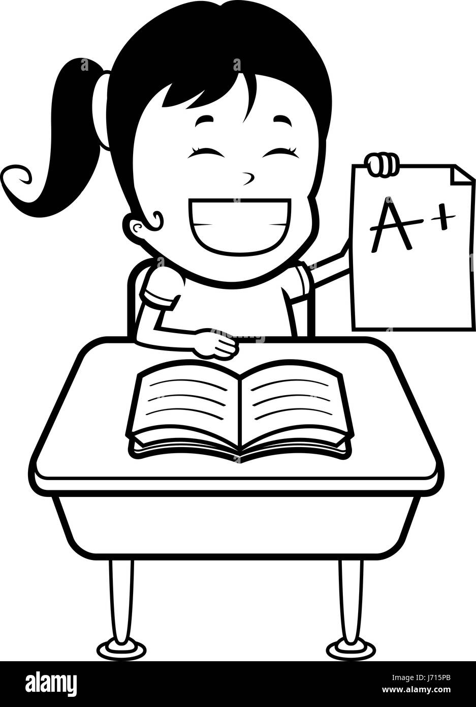 hight resolution of a happy cartoon girl student with good grades