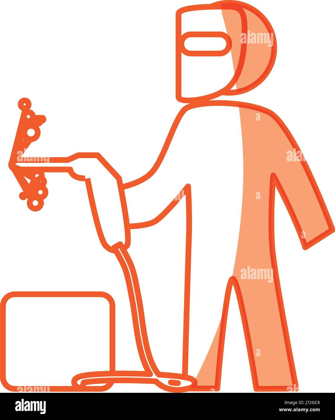hight resolution of worker man silhouette stock image
