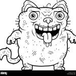 A Cartoon Illustration Of An Ugly Cat Standing Stock Vector Image Art Alamy