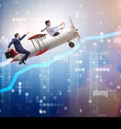 businessman flying on vintage old airplane stock image [ 1300 x 956 Pixel ]