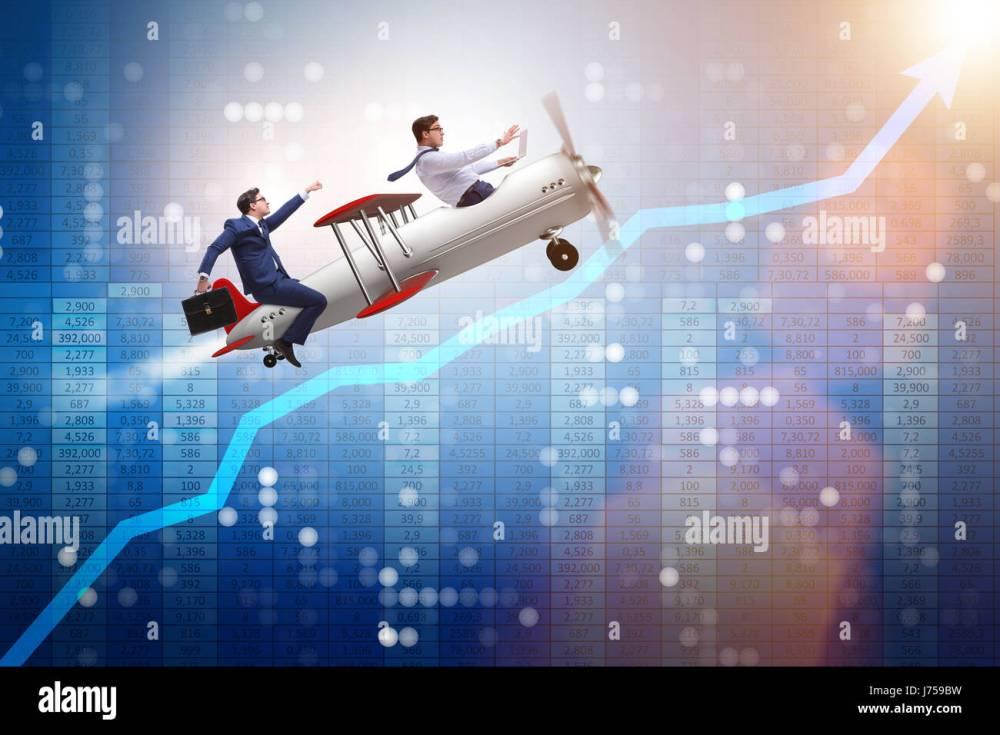 medium resolution of businessman flying on vintage old airplane stock image