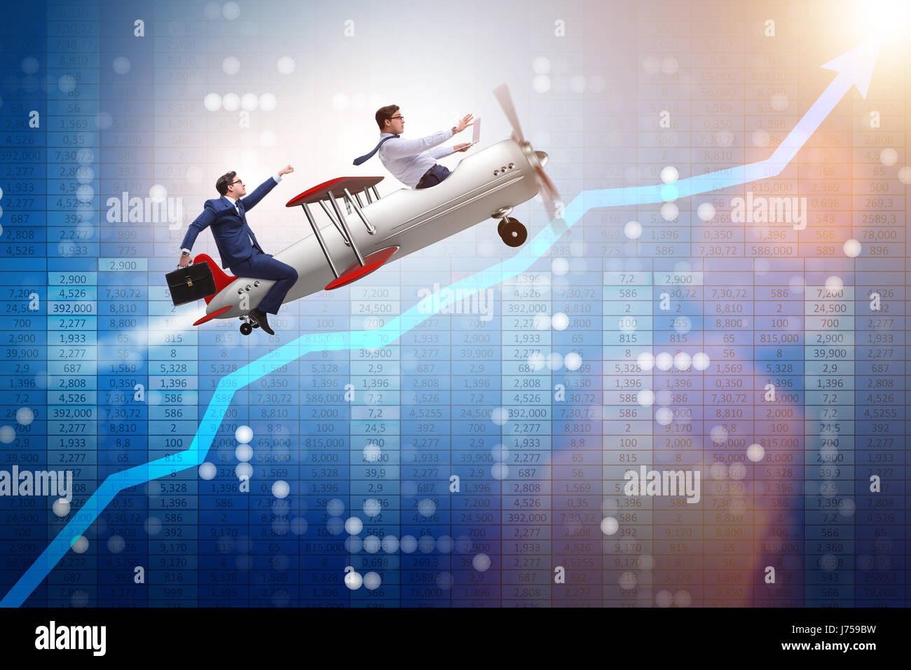 hight resolution of businessman flying on vintage old airplane stock image