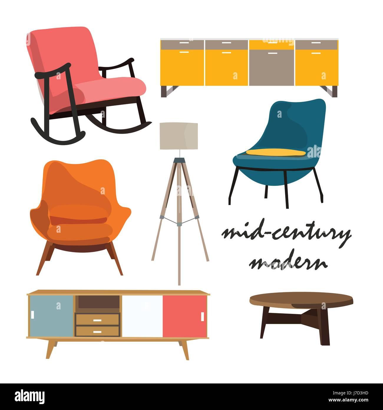 Mid Century Danish Living Room Retro Furniture Set Stock