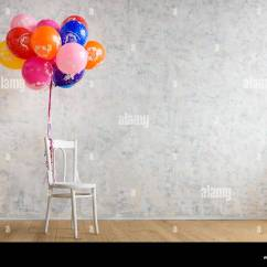 Chair With Balloons High Wooden And On The Floor Stock Photo 142342073 Alamy