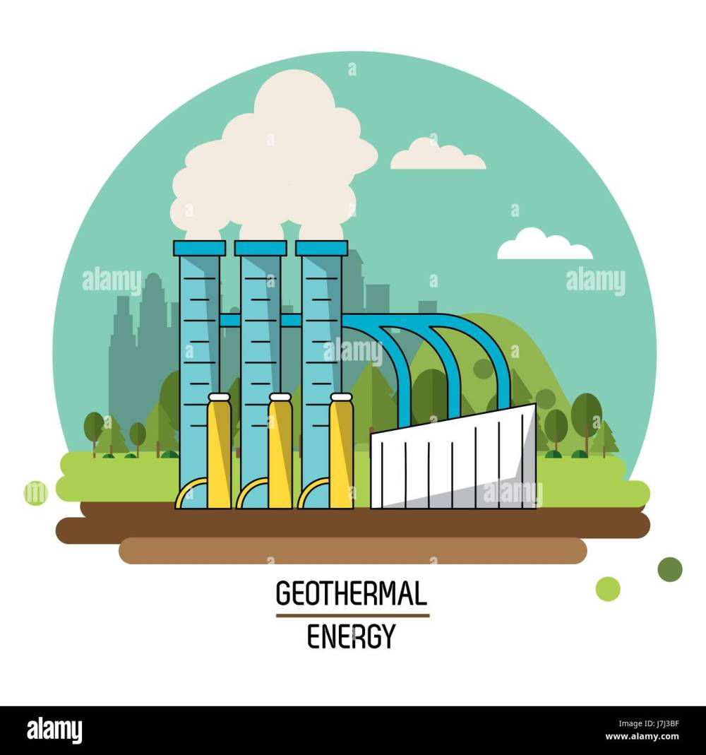 medium resolution of color landscape image geothermal energy production plant stock vector