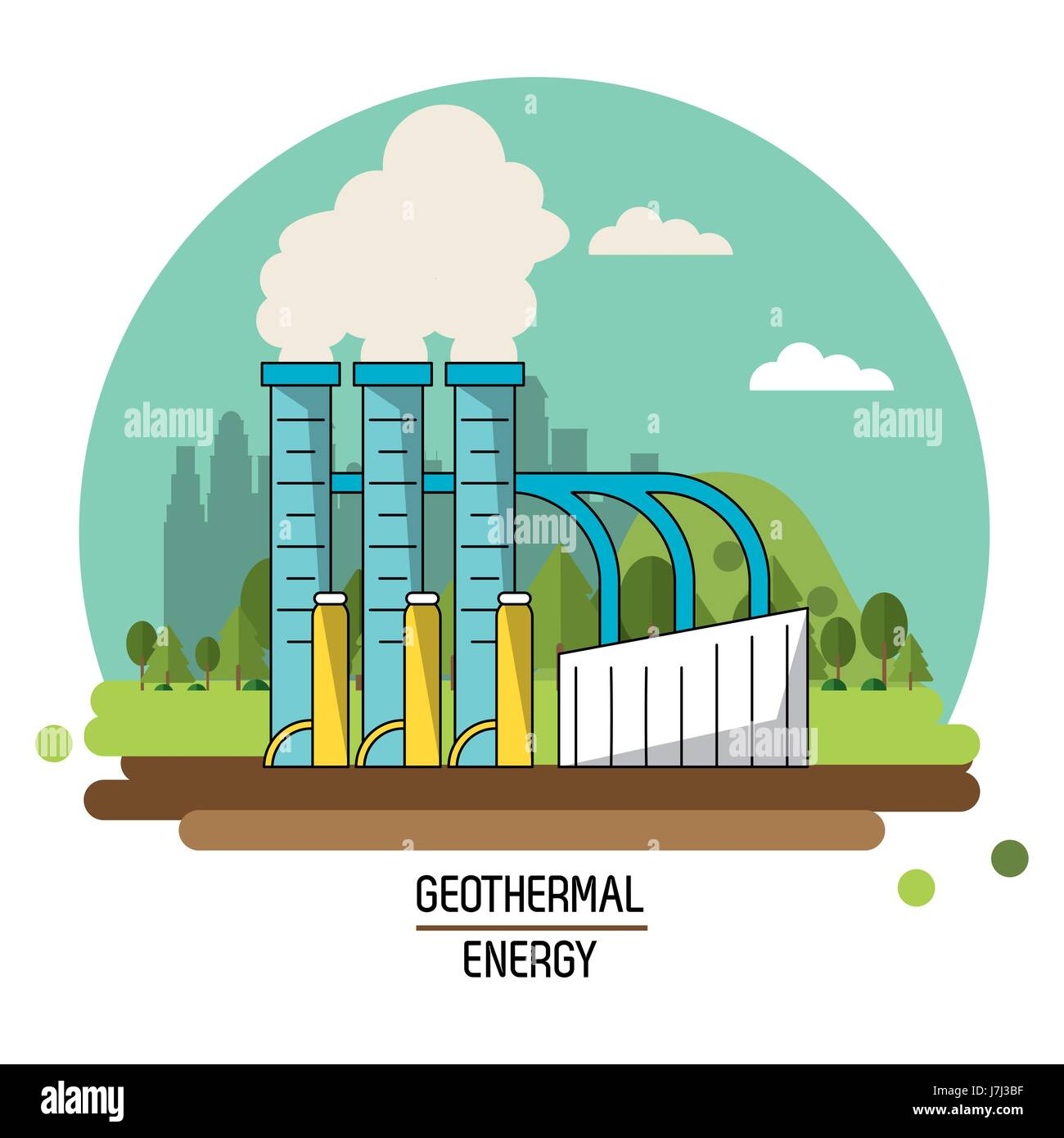 hight resolution of color landscape image geothermal energy production plant stock vector