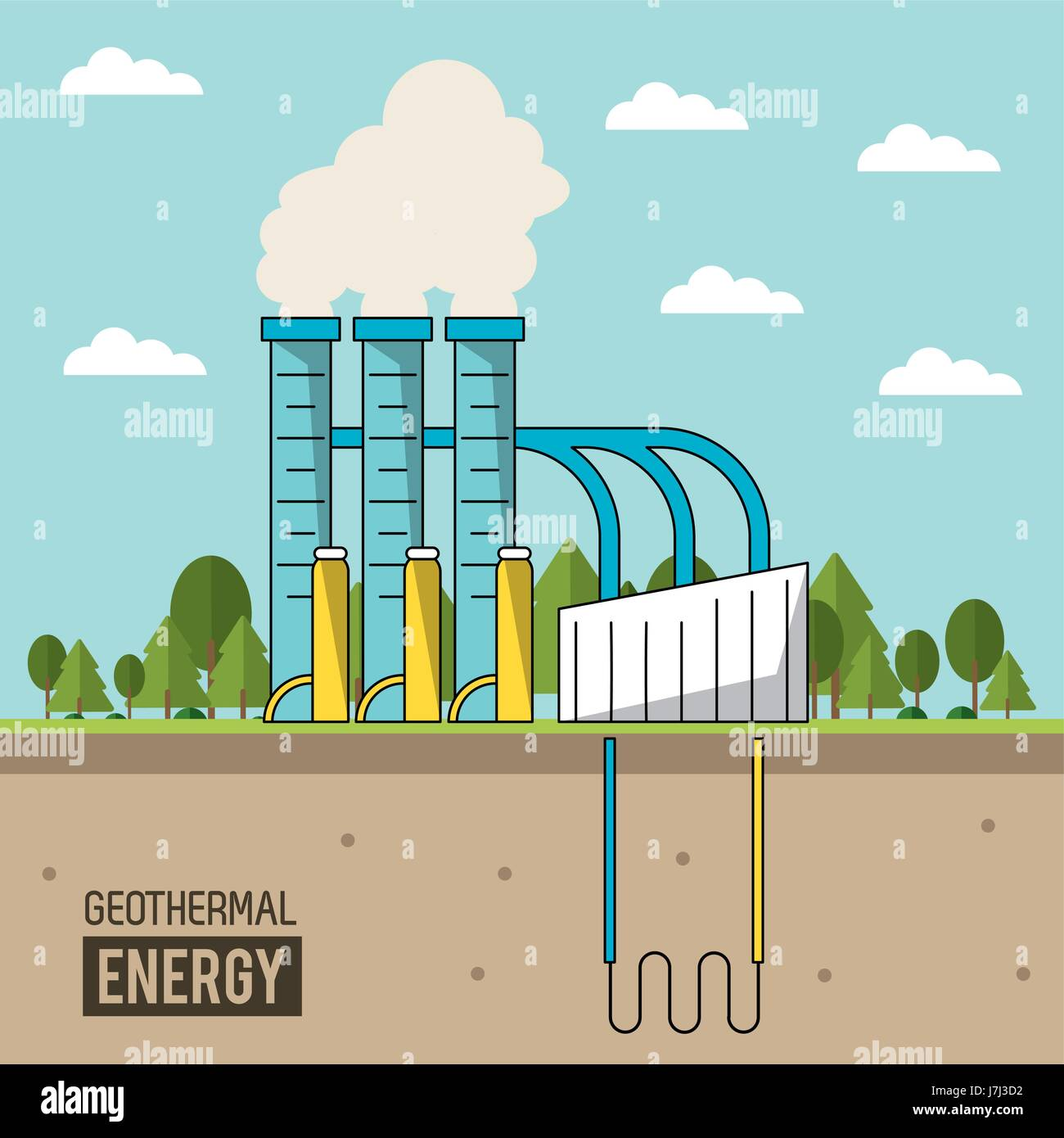 hight resolution of coloful background geothermal energy production plant with forest stock vector
