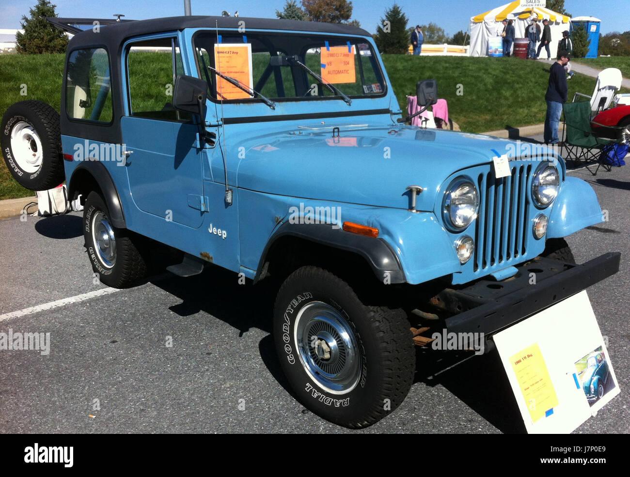 hight resolution of 1980 jeep cj 7 blue v8 automatic hershey 2012 stock photo 142468881