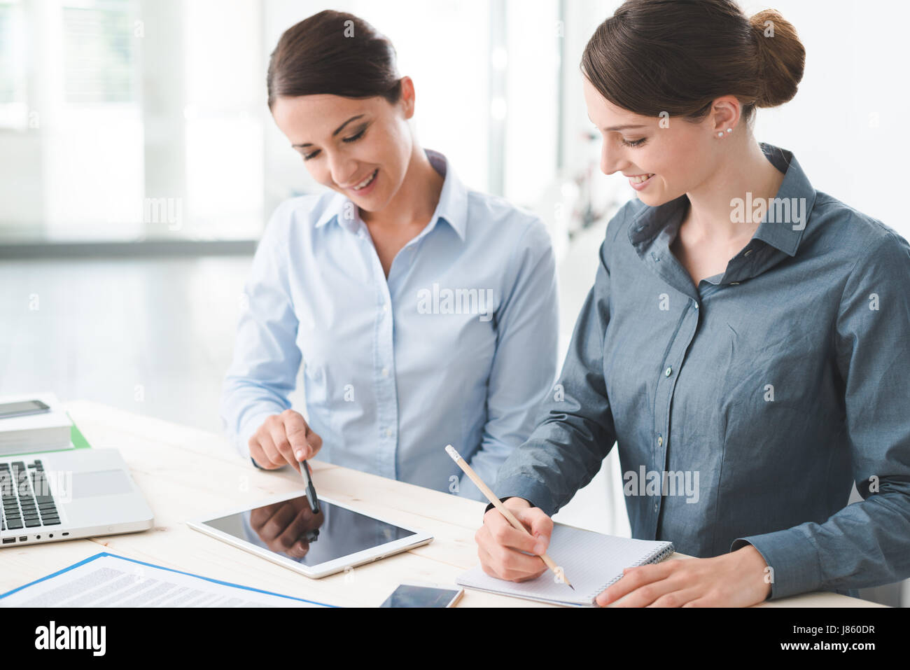 hight resolution of professional business women working together at office