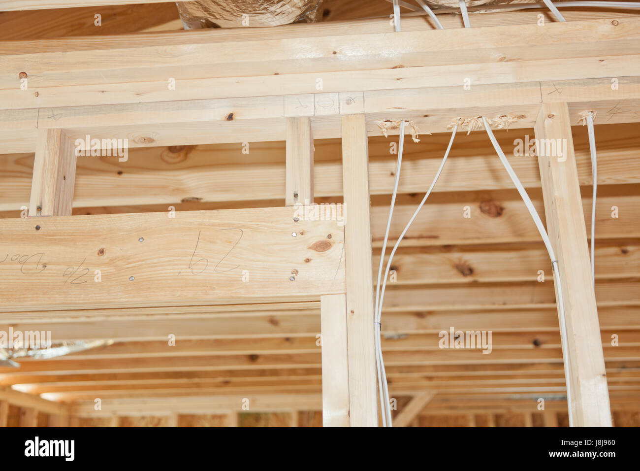 hight resolution of new home framing with electrical wires