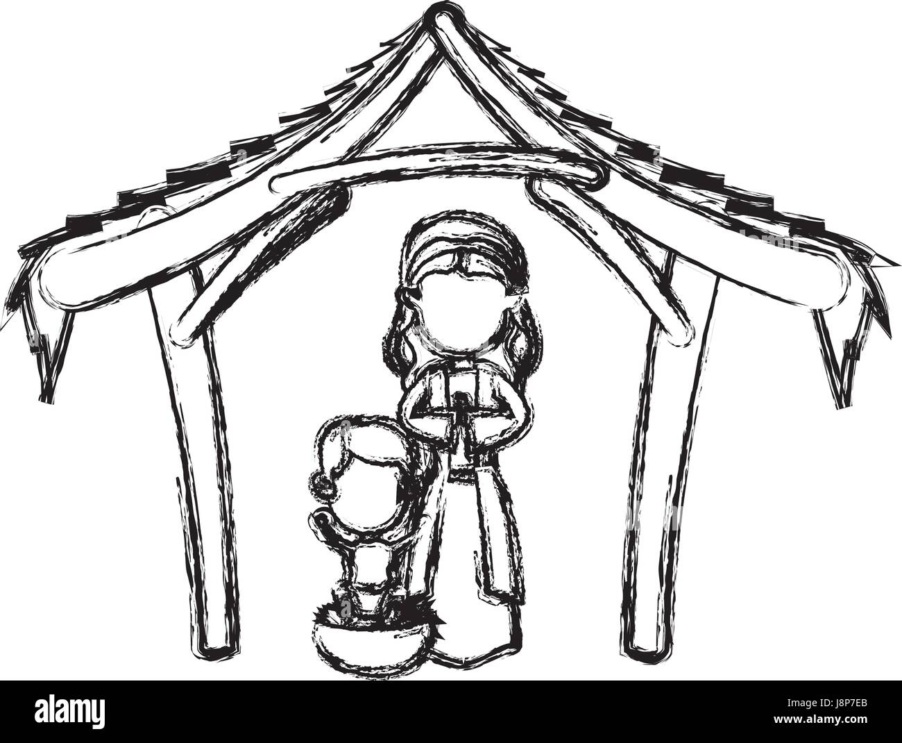 Manger Virgin Mary And Baby Jesus In Hut Image Stock