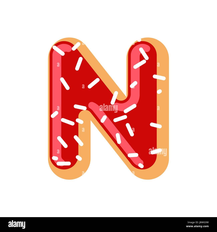 Letter N Donut Font Doughnut Alphabet Sweet Lettering