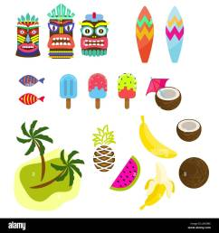 hawaii tropic colorful clipart vector tiki mask ice cream palms surf board and exotic summer fruits  [ 1300 x 1390 Pixel ]