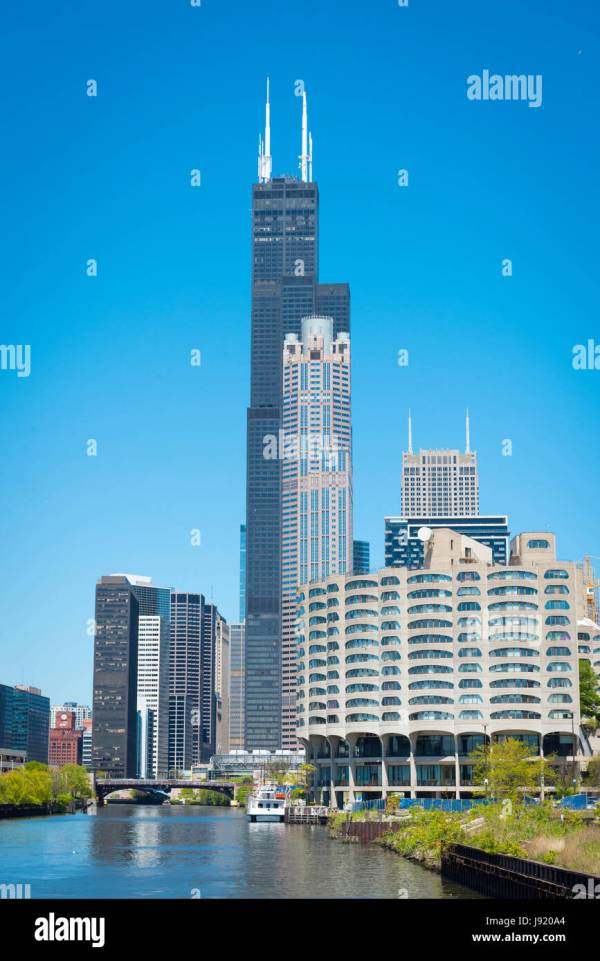 View Chicago River Illinois Willis Tower Sears & Skydeck Stock Royalty Free
