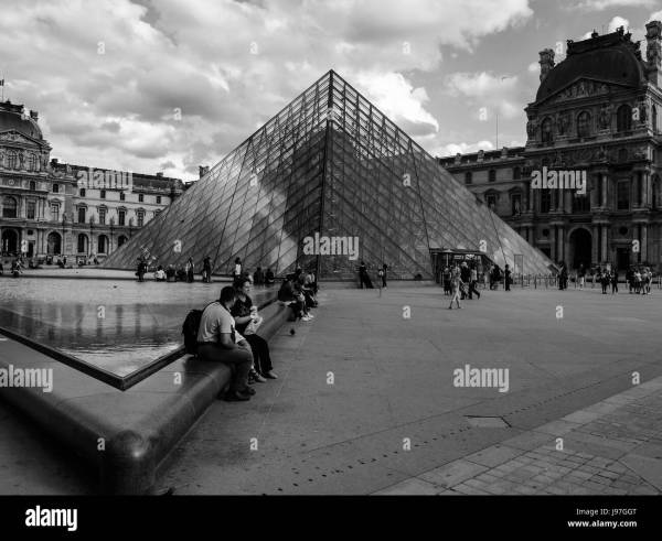 Glass Pyramid Black And White Stock & - Alamy