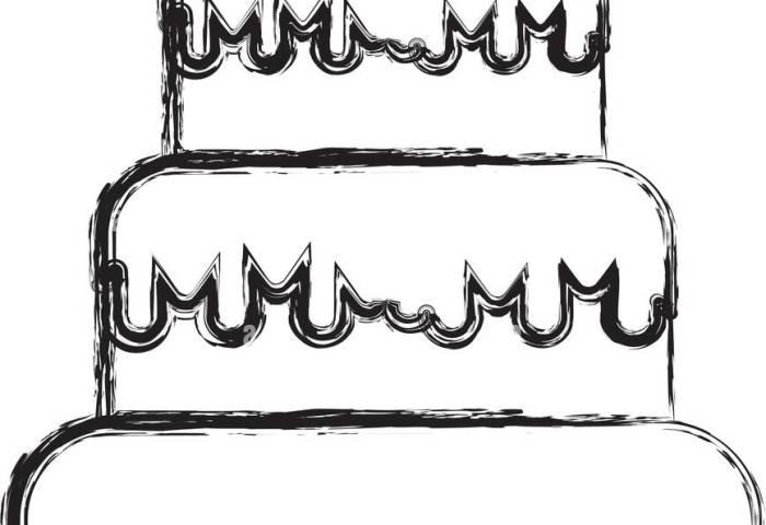Sketch Draw Birthday Cake Cartoon Stock Vector Art Illustration