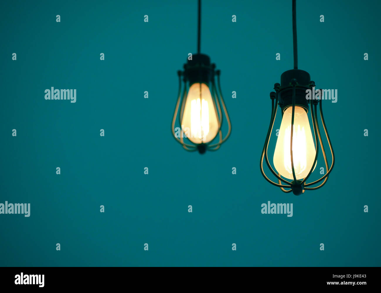 illuminated hanging light bulbs