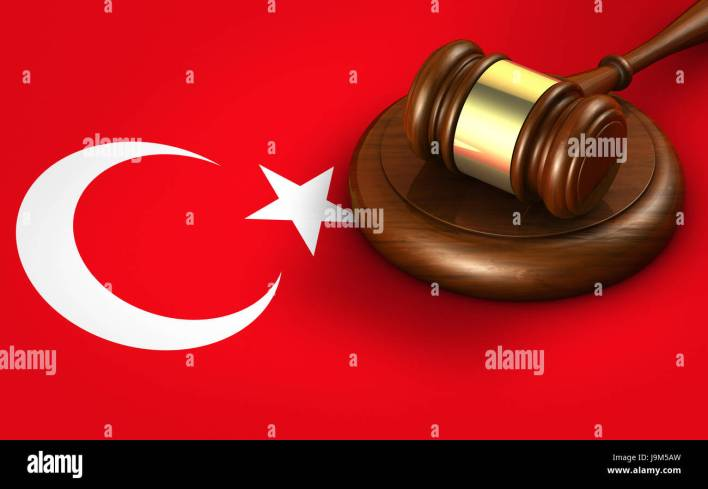 turkey law, legal system and justice concept with a 3d rendering of a gavel on turkish flag stock photo - alamy
